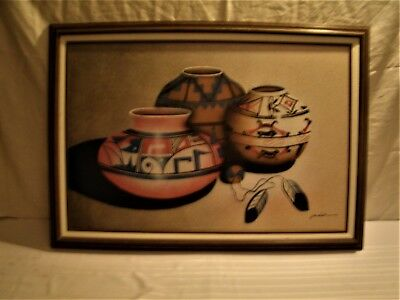 Original Signed Canvas Painting by J. Kendelle, Native American Pottery Sand Pai