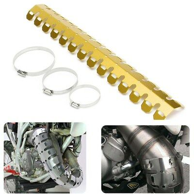 Gold Exhaust Muffler Pipe Heat Shield Guard Protector Cover Motorcycle Dirt Bike