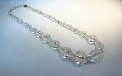 Vintage Early Art Deco Crystal Glass Multi Faceted Necklace K469