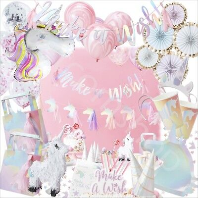 Iridescent Unicorn Kids Childrens Birthday Party Supplies Tableware & Decoration