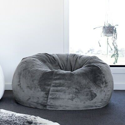 FUR BEANBAG Cover Extra Large Charcoal Velvet Soft Bean Bag Grey Chair