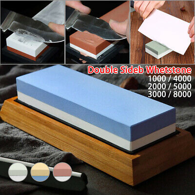 Dual Whetstone Sharpener Double Sided Knife Sharpening Water Wet Stone 3 Grain