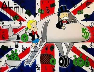 Alec Monopoly oil Painting on Canvas graffiti art UK Airplane 28x36""