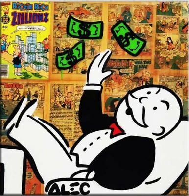 """Alec Monopoly Oil Painting on Canvas Graffiti art Iconic Rich man 28x28"""""""