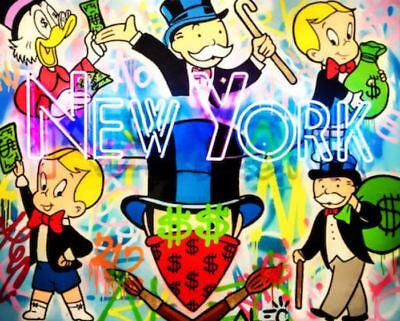 Alec Monopoly Oil Painting on Canvas Graffiti art New York Party 28x28""