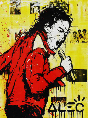 Alec Monopoly oil Painting on Canvas graffiti art Micheal Jackson 28x36""