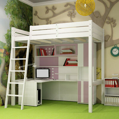Contemporary Design Cabin Bed High Sleeper Woodne Pine With Ladder Kids Boys