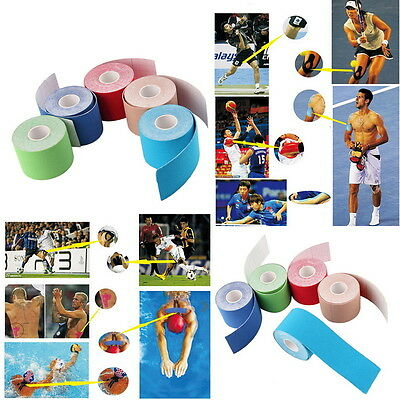 5m x 5cm Kinesiology Sports Muscles Care Elastic Physio Therapeutic Tape New BU