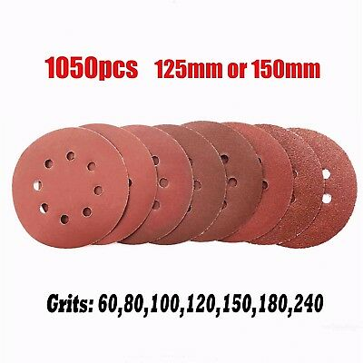 "Toolrock 1050pcs 125/150mm Hook & Loop Plaster Sanding Discs for 5"" 6"" Sander"
