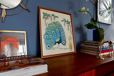Retro Vintage Mid Century Embroidered Tapestry Peacock Wall Art