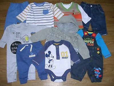NEXT BABBLE BOOM Mickey Mouse etc Boys Bundle Jeans Tops Cardigan Age 0-3m
