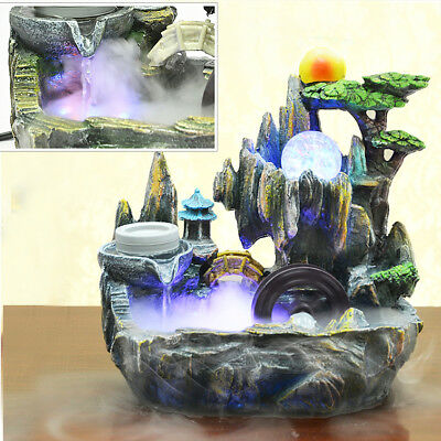 Mystical Resin Indoor Table Bench Top Mountain Water Feature Fountain Ornament