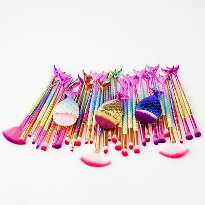 11PCS Mermaid Makeup Brushes Set Fish Tail Foundation Eyeshadow Cosmetic Brush