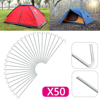 """50 X Heavy Duty Galvanised 9"""" Steel Tent Pegs Metal Camping High Quality New"""