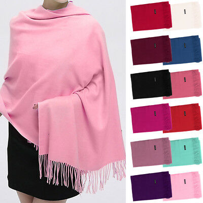 Women Lady Nice Warm Cashmere Silk Solid Long Pashmina Shawl Wrap Scarf