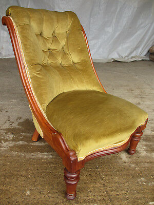 Victorian mahogany button upholstered serpentine nursing chair (570)