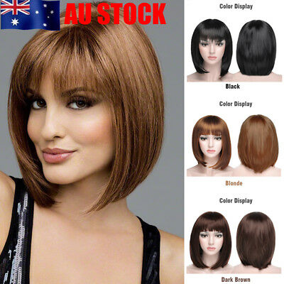 Women Natural Beauty Bobo Lace Front Short Straight Hair Cosplay Sleek Full Wigs