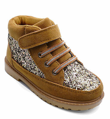 Girls Childrens Kids Flat Tan Ankle Warm Boots Elastic Lace Infant Shoes Uk 8-13