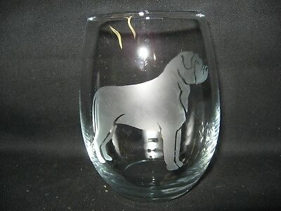 New Etched Bullmastiff Stemless Wine Glass Tumbler