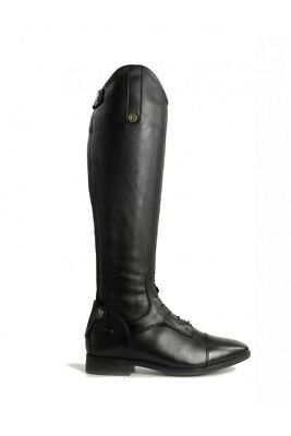 Brogini COMO Long Tall Laced Leather Strech Panel Riding Boots Black UK 3.5-11
