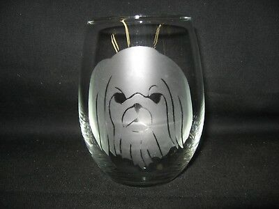 New Etched Pekingese Stemless Wine Glass Tumbler