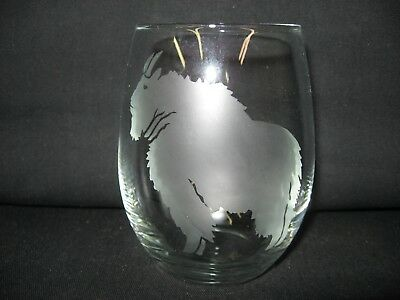 New Etched Rocky Mountain Goat Stemless Wine Glass Tumbler
