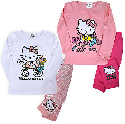 Girls New Hello Kitty Set Kids 2PSC Baby Pants Top Pink Age 3 6 12 18 24 Months