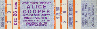 Alice Cooper 1986 Unused Concert Ticket Vinnie Vincent