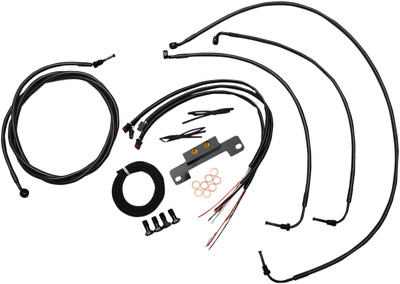 "LA Choppers Cable/Brake Line Kit- 15-17"" Ape -Midnight Braided- LA-8055KT2-16M"