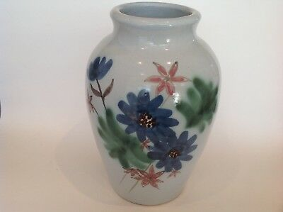 large Buchan Stoneware Pottery Vase decorated with bunches of Flowers