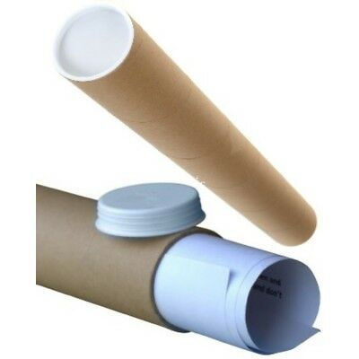 "20 Postal Cardboard Poster Tubes A3 13""x 2""  330Mm X 50Mm+End Caps Quality"