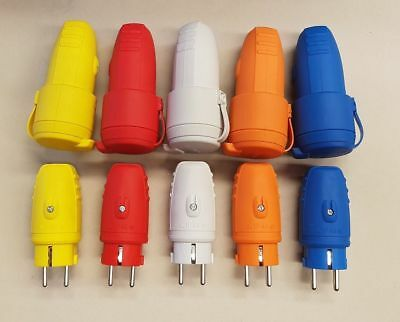 Schuko Rubber Plug Plug and Coupler Set 230V IP44 Various Colours