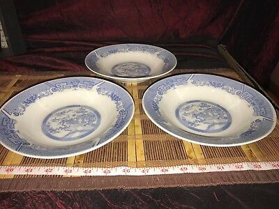 """3 Blue Willow Soup Bowls Made in China 8 1/8""""x1 1/4"""""""