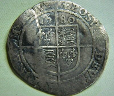 Tudor Period 1580 Elizabeth 1St Silver Sixpence Rose Beside Bust Mm Latin Cross