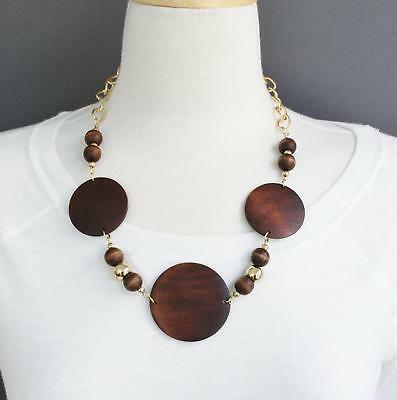 """Brown wood disc big chunky bead 16/"""" long necklace beaded wooden lightweight"""