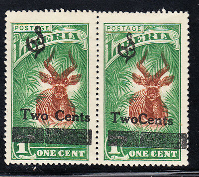"""Liberia # O156 MINTbPair 1 W/ No Space  """"TWOCENTS"""" 1926 Surcharge Fauna Antelope"""