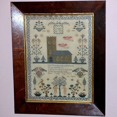 Early Victorian 19th Century Sampler Worked in Silk with Church, Angels, and Ada