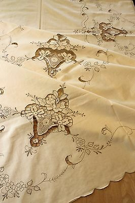 Vtg Madeira Embroidery Tablecloth Cutwork ROSES Unused +7 Napkins Wedding Lace