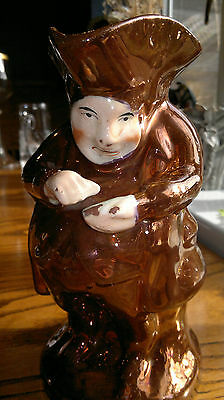 "Rare Antique Copper Lustre Toby Jug-Character Jug.Stoneware 8.5""Tall"
