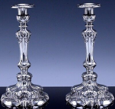 SUPERB PAIR LARGE c1913 GORHAM STERLING SILVER CHIPPENDALE REPOUSSE CANDLESTICKS
