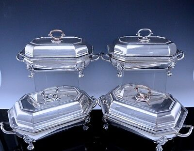 4 c1810 GEORGIAN SILVER SHEFFIELD PLATE ARMORIAL ENTREE DISHES ON WARMING STANDS