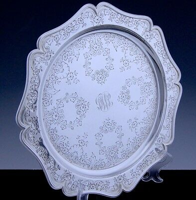 VERY PRETTYc1890 AMERICAN STERLING SILVER HAND WROUGHT ETCHED SERVING TRAY PLATE
