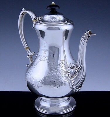 Amazing Quality 1854 Early Victorian Sterling Silver Etched Teapot Or Coffee Pot