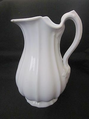 "Antique J & G Meakin KANSAS Ribbed White Ironstone 11"" Pitcher Ewer Pearl China"