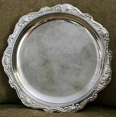 """Vintage Silverplate Platter/Tray 11"""" with Etched Design Hong Kong VG"""