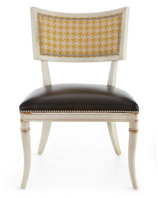 Enjoyable Calvin Dining Chair Black Leather Seat Yellow Hounds Horchow Beatyapartments Chair Design Images Beatyapartmentscom