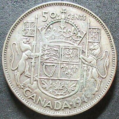 1949 Canada Silver Fifty Cent Coin