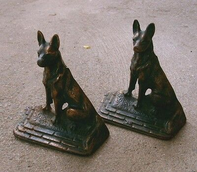 "PAIR of Vintage Cast Iron Bookends, GERMAN SHEPHERD Dogs 5.75"" Tall"
