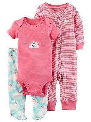 ba6e0f14c6611 Carters Infant Girls Pink Bunny Rabbit Baby Outfit Bodysuit Pants & Coveral  Set
