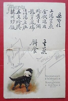 Pub Menu Chine Whisky Buchanan's Black & White Red Seal Flatcoated Retriever Dog